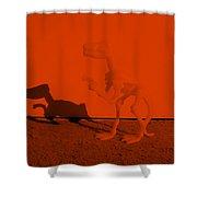 Dino Orange Shower Curtain