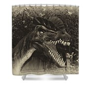 Dino's At The Zoo Come Here Cameraman In Heirloom Finish Shower Curtain