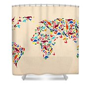 Dinosaur Map Of The World  Shower Curtain