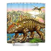 Dinosaur Panorama Shower Curtain