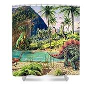 Dinosaur Volcanos Shower Curtain