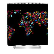Dinosaurs Map Of The World   Shower Curtain by Mark Ashkenazi