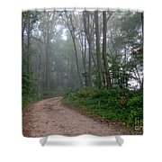 Dirt Path In Forest Woods With Mist Shower Curtain