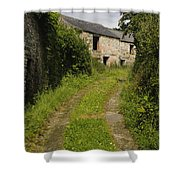 Dirt Path To Stone Building Shower Curtain