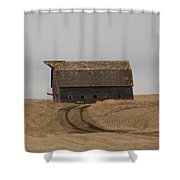 Dirt Road To An Old Leaning Barn Shower Curtain