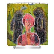 Disappearance Of The Woman And Her Own Two Stone Children With Clouds On Wheels Shower Curtain