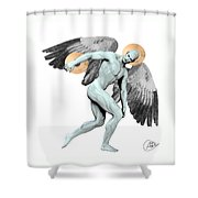 Discus Thrower Angel Shower Curtain