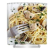 Dish Of Spaghetti With Clams Shower Curtain