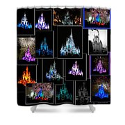 Disney Magic Kingdom Castle Collage Shower Curtain