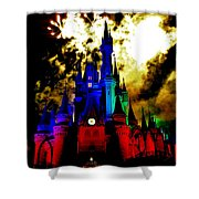 Disney Night Fireworks Shower Curtain