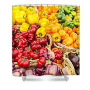 Display Of Fresh Vegetables At The Market Shower Curtain