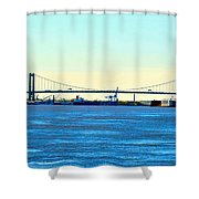 Distant Bridges Shower Curtain