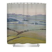 Distant Hills Fields And Hedges Painting Shower Curtain