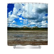 Distant Hot Springs Shower Curtain