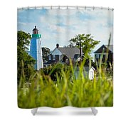 Distant Light House Shower Curtain
