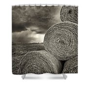 Distant Thunderstorm Approaches Hay Bales E90 Shower Curtain