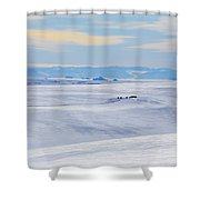 Distant View Of A Musk Ox And Snow Shower Curtain