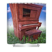 Distorted Upright Piano Shower Curtain