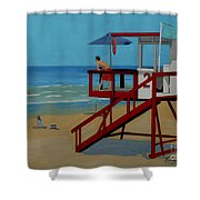 Distracted Lifeguard Shower Curtain