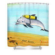 Dive Buddy Shower Curtain