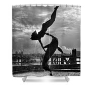 Diver And Dolphin Shower Curtain