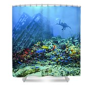 Diver At The Wreck Shower Curtain