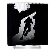Diver Silhouette  Shower Curtain