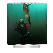Diver With Giant Octopus Octopus Shower Curtain
