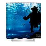 Diving In The Ocean Underwater Shower Curtain
