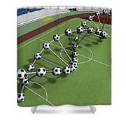 Dna String Of Soccer Player On The Field Of Stadium Shower Curtain