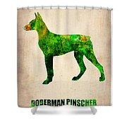 Doberman Pinscher Poster Shower Curtain by Naxart Studio