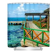 Dock And Tropical Water Shower Curtain