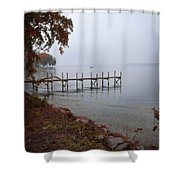 Dock On A Lake In Autumn Shower Curtain