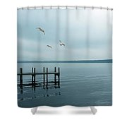 Dock On A Moody Lake Shower Curtain