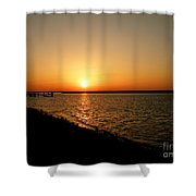Dock On The Bay Sunset Shower Curtain