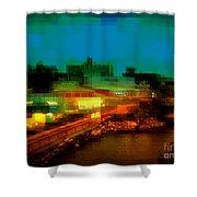 Dock On The East River - New York Shower Curtain