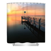 Dock On The Sunset Sound Shower Curtain