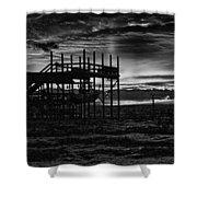 Dock Sunset Bw1 Shower Curtain