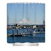 Dock View Of Mt. Rainier Shower Curtain
