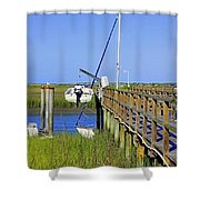 Docked On The Bay Shower Curtain