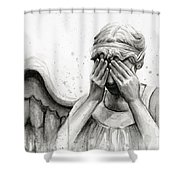 Doctor Who Weeping Angel Don't Blink Shower Curtain by Olga Shvartsur