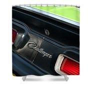 Dodge Challenger 440 Magnum Rt Taillight Emblem Shower Curtain by Jill Reger