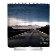 Vanishing Point Highway Shower Curtain by Edward Fuller