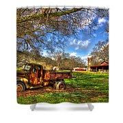 Dodge Dump Truck Farm Barn Scene Shower Curtain