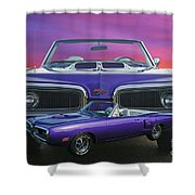 Dodge Rt Double Exposure Purple Sunset Shower Curtain