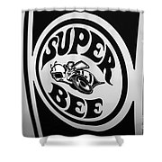 Dodge Super Bee Decal Black And White Picture Shower Curtain