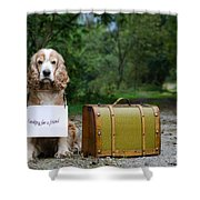 Dog And Suitcase Shower Curtain