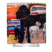 Dog At The Used Car Lot, Rex Gouache On Paper Shower Curtain