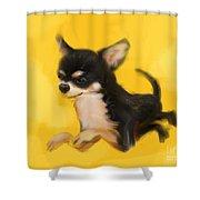 Dog Chihuahua Yellow Splash Shower Curtain