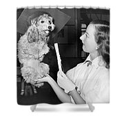 Dog Graduates From School Shower Curtain by Underwood Archives